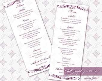 DIY Printable Wedding Menu Template   Printable Menu (tea length)   Calligraphy in Plum