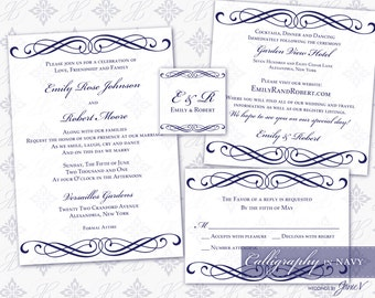 DIY Printable Wedding Invitation Template Set | Printable Invitation Suite (5x7) | Calligraphy in Navy