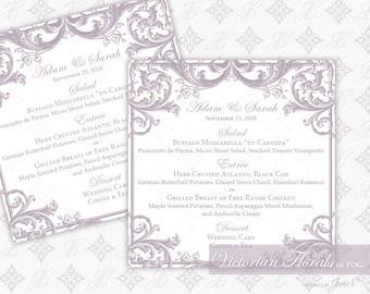 DIY Printable Wedding Menu Template   Printable Wedding Menu Card (square)   Victorian Florals in Fog