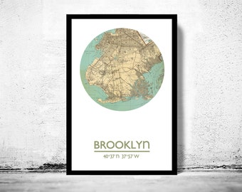 BROOKLYN - city poster - city map poster print