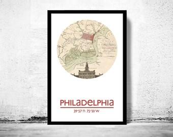 PHILADELPHIA - city poster - city map poster print