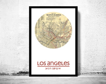 LOS ANGELES (2)- city poster - city map poster print
