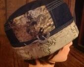 Pill Box Cloche Denim Chemo Bucket Hat