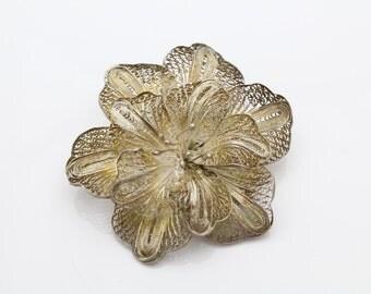 Vintage Sterling Silver Filigree Floral Brooch. [4216]