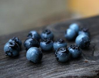 One (1) Small raspberry or blueberry or wild strawberry handmade lampwork bead / Berries/ Beading/ wildberries