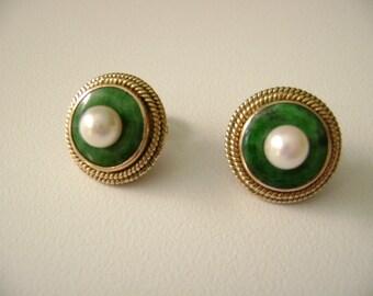 Vintage Jade and pearl 14k gold earrings, jade and pearl earrings, 14 karat gold pierced earrings, round jade and pearl earrings, jade