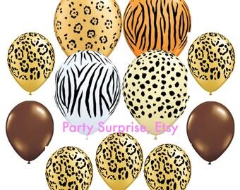 Safari Balloons, Safari balloons party decorations, Animal print balloons, Zoo circus wild animals party balloons