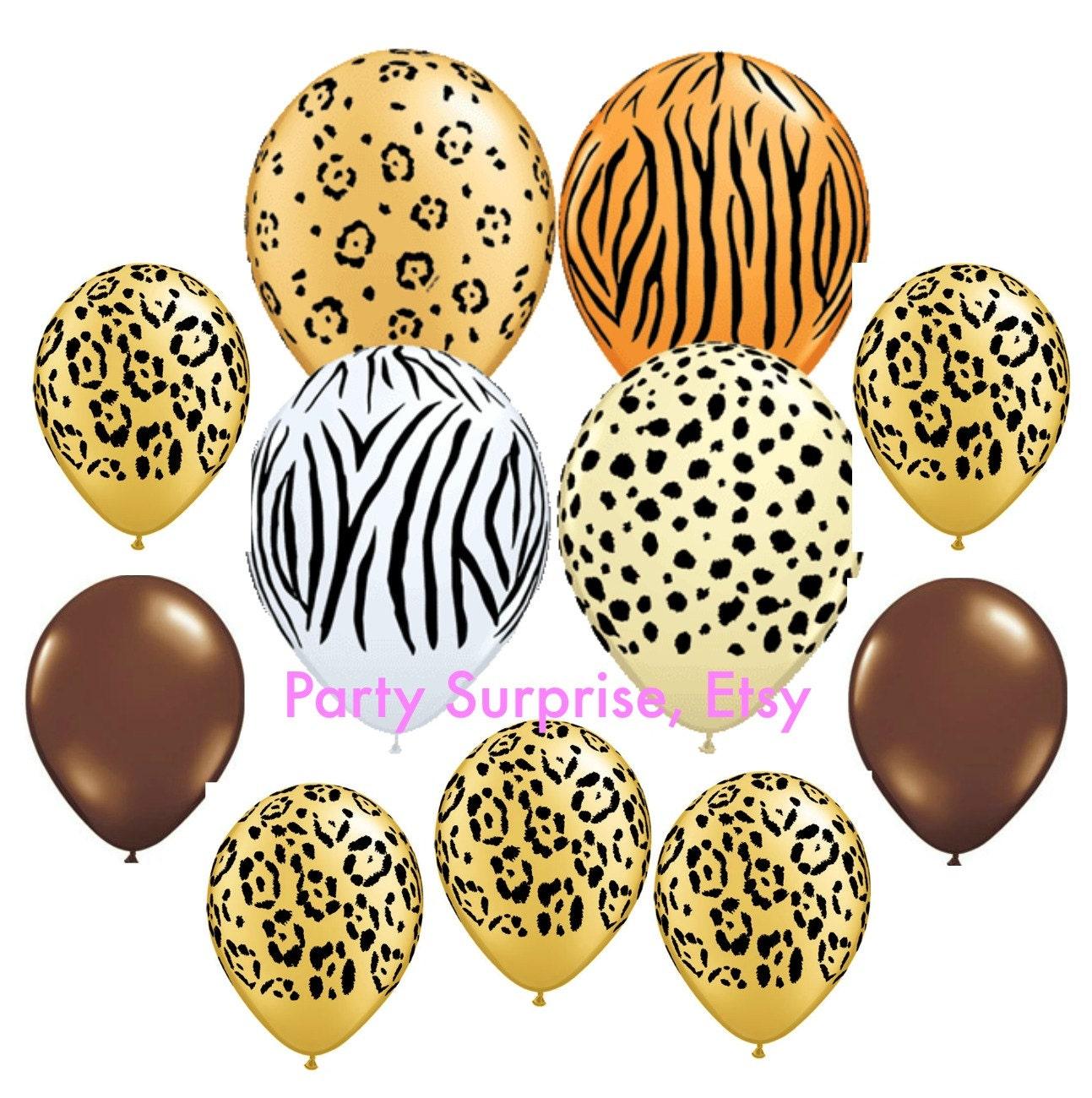 Safari balloons safari balloons party decorations animal - Cheetah print centerpieces ...