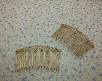 20pcs karat gold color 20 teeth metal hair comb , 75*40mm , H2434