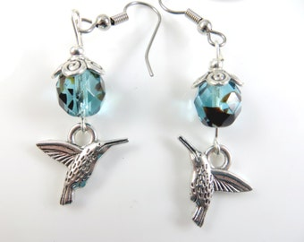Teal hummingbird earrings
