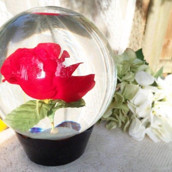 Large Red Rose Water Globe Ball Reusable Pedestal Base