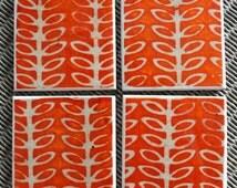 Orange patterned ceramic drinks coasters, Scandinavian design coasters