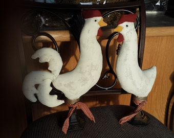 Primitive Rooster and Hen