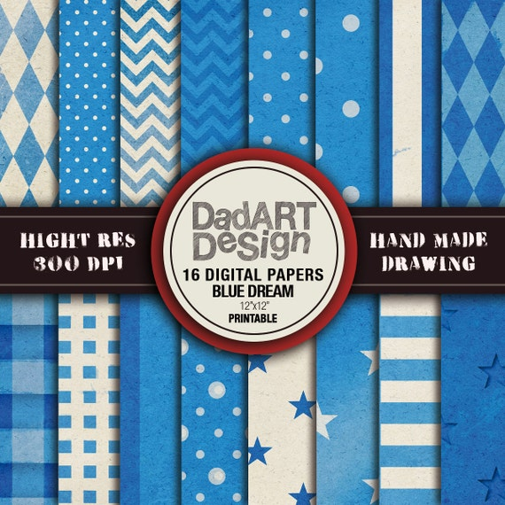 Blue Dream Patterns digital paper pack Distressed by DADARTDESIGN