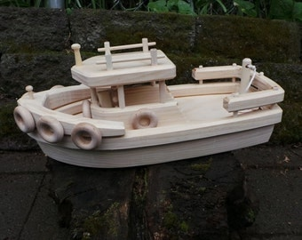 Handcrafted Floating Wood Toy Boat