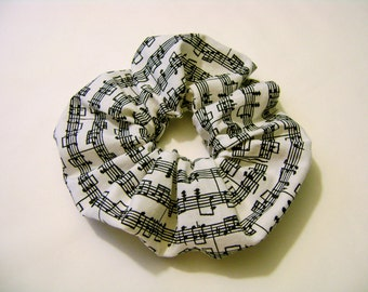 Music Notes Scrunchie / Handmade Fabric Hair Scrunchie / Big Scrunchies / Musical Hair Accessory