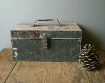 Vintage industrial galvanized tool box.