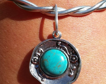 Silver Jewelry//Silver Statement Necklace//Silver Turquoise Pendant//Flexible and Lightweight//Designed by LydiaZ//Boho//Hippie