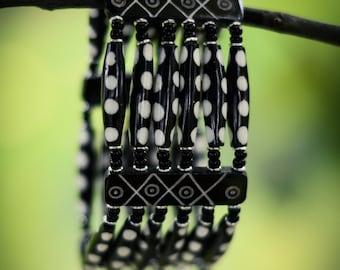 Black and White Polka Dot Beaded Bracelet from Kenya