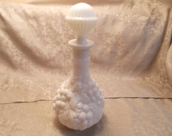 Vintage Milk Glass Grape Design Decanter (1131)