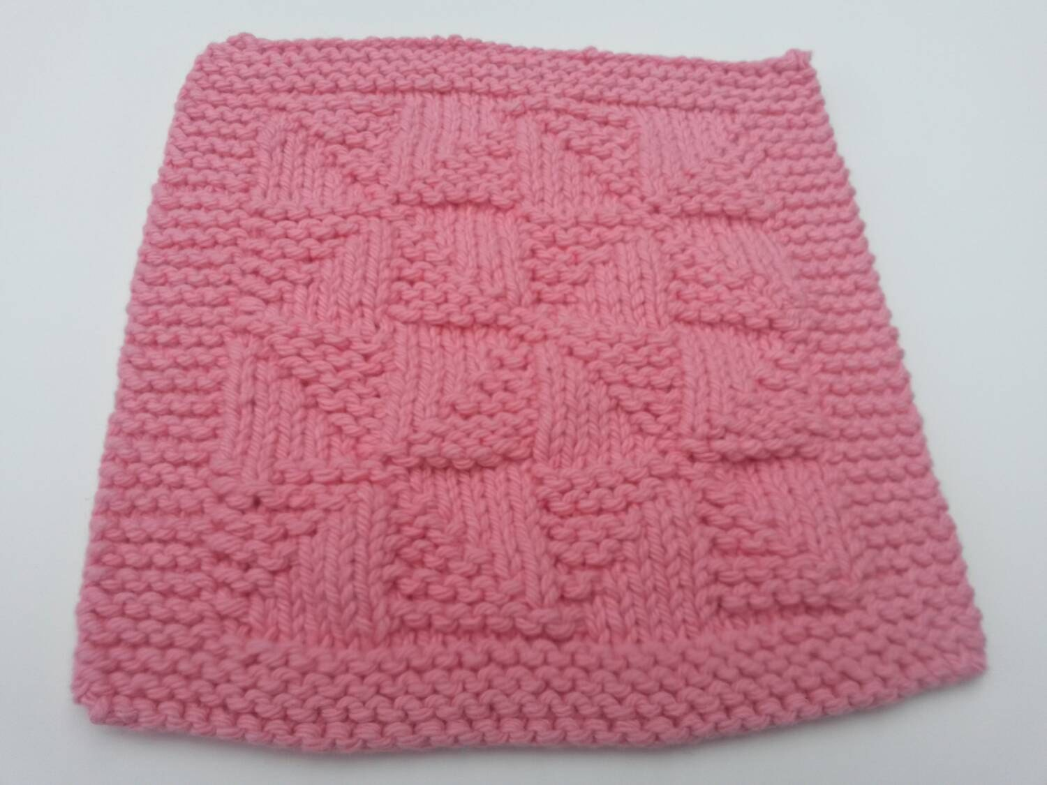 Knitted Quilt Block Patterns : Knit dishcloth pinwheel quilt strawberry pink