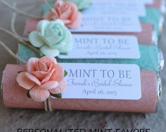 Bridal shower favor tags with mint and peach roses