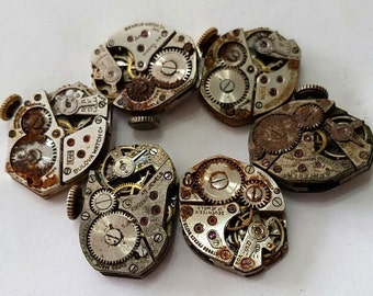 6 Vintage Wristwatch Movements - Bulova, Benrus, and more - Steampunk, Altered Art, Assemblage Supplies - no dials