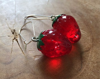 Strawberry earrings - cute dangling earrings with a resin strawberry which is transparant, red and green
