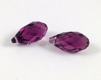 6010 AMETHYST 13mm Swarovski Crystal Briolette Drops, 2 pieces or 10 pieces