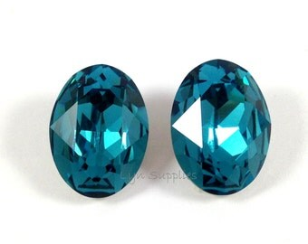 18x13mm 4120 INDICOLITE 2pcs Swarovski Crystal Oval Fancy Stone