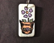 Domino, Hand Painted Domino, Potted Plant, Charm