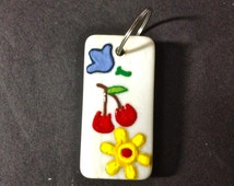 Domino, Hand Painted Domino, Cherries, Floral, Charm