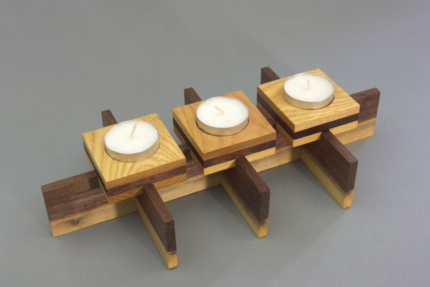 Tea candle holder light centerpiece wooden