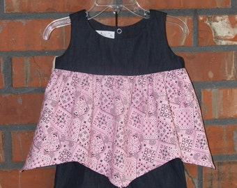 Little Girl's 2 Piece Set - Denim with Pink Bandanna Print with Cotton Denim Shorts