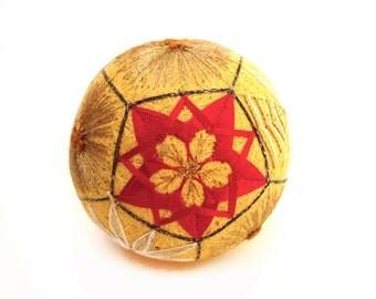 VINTAGE Beautiful  Temari Ball , Embroidering Thread Ball , Japanese Art Ball , Modern Geometric Design , Multicolored , Hand Crafted , Gift