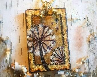 """Dandelion """"Wish"""" necklace by BurnedinBrooklyn Handcrafted Wooden Jewelry"""