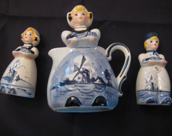 3 Piece Vintage Windmill Blue Dutch Boy/Girl  Salt and Pepper Shakers and Creamer