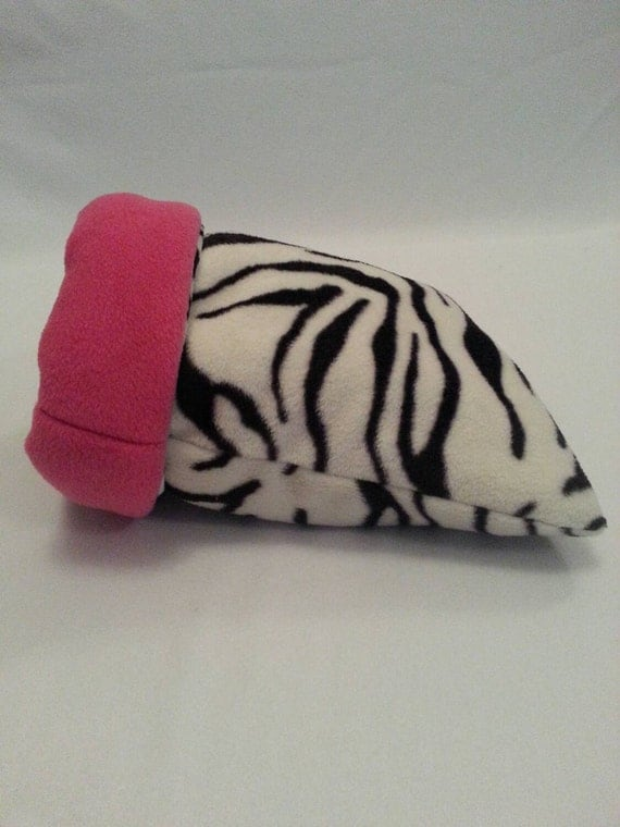 Large Padded Guinea Pig Sleeping Bag/Snuggle Sack (Zebra/Fuchsia)