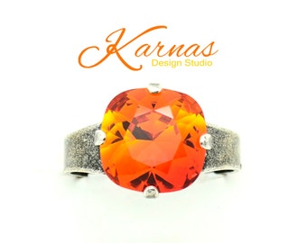 Sale! FIRE OPAL 12MM Cushion Cut Adjustable Ring Made With Swarovski Elements *Pick Your Finish *Karnas Design Studio *Free Shipping*