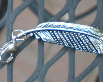 Feather Shape Stainless Steel Pendant  Free Engraving
