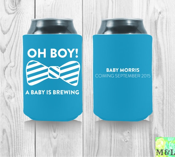 oh boy a baby is brewing baby shower koozies