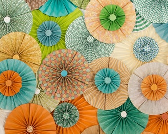 25pc Set of orange coral teal blue tan  Paper Pinwheel's Rosette paper Flower Party Decoration wedding birthday shower decour pinwheels
