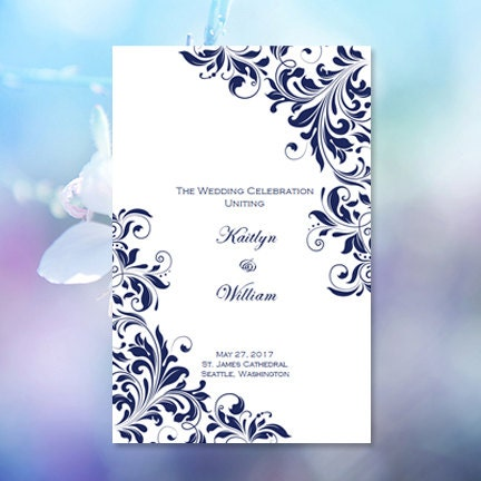 Catholic Church Wedding Program Kaitlyn Navy Blue