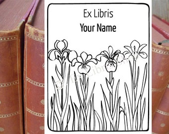 "Exlibris stamp or stickers ""Iris_1"", personalized wooden stamp or stickers, book stamp, library stamp, name stamp, Iris, librarian stamp,152"