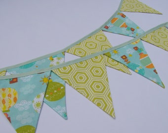 Lime Aqua Bunting ~ Fabric Nursery Banner ~ Playroom Flags ~ Colorful Pennant Banner ~ Aqua, Mint and Lime Bunting ~ Funky Fabric Bunting