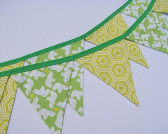 Lime Green Bunting ~ Baby Nursery Banner ~ Playroom Flags ~ Cheerful Pennant Banner ~ Baby Boy Bunting ~ Lime Green Flag Banner