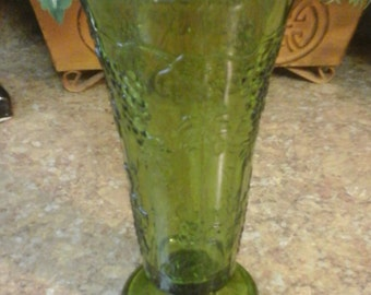 Vintage Green Glass Vase with Grapes