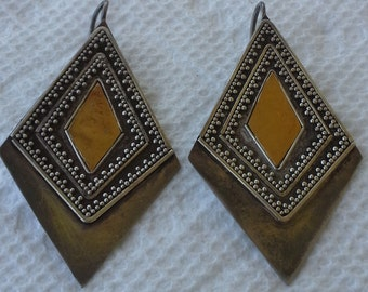 Vintage 22K gold with Sterling Silver long, dangle, triangle pair of earrings.