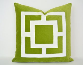 Lime Green Pillow Cover -  Green Velvet Pillow Cover with Off-White Velvet Applique