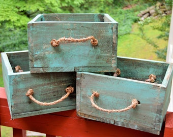 Set of 3 Handmade Rustic Solid Wood Box with Rustic Teal Finish and Rope Handles.